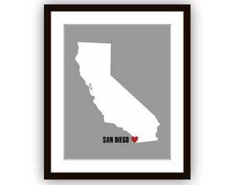 California State Map, Heart on San Diego or Customize with any City in California, Poster, Art Print