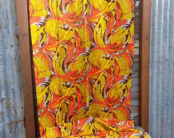 Vintage Fabric 4 yd THC HAWAIIAN TEXTILES 13531 Hawaiiana Tiki Mod Mid-Century