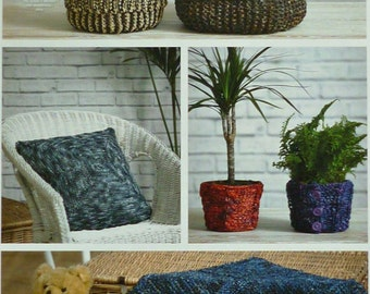 Basket Knitting Pattern K4341 2 Sizes of Storage Baskets, Rug, Cushion and Pot Covers Knitting Pattern in Raffia King Cole