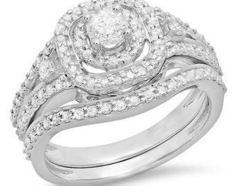 0.90 carat (ctw) 14k  gold round  diamond ladies bridal halo style split shank engagement ring set
