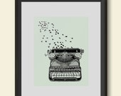 Freedom of Speech Poster Print Typewriter and Birds Writers Inspiration Hand Drawn Giclee Art Home Dorm Room Office Decor Gift