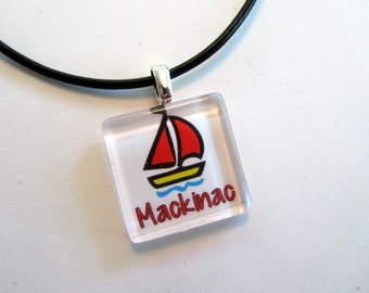 Mackinac Island, Michigan Glass Pendant with Black Leather Cord Necklace