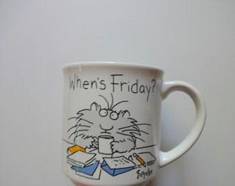 Vintage When's Friday? Coffee Mug By Sandra Boynton 1980s