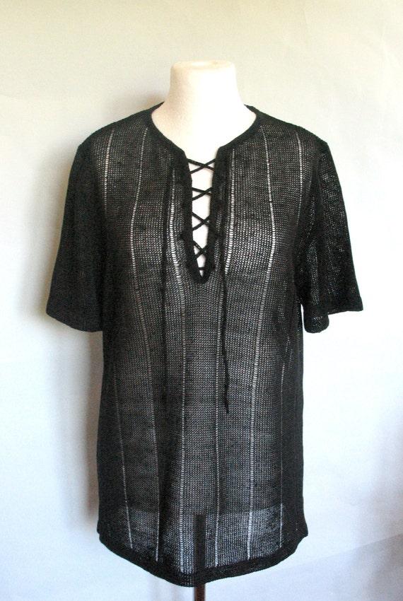 Mens black linen shirt top sweater clothing natural black for Mens linen dress shirt