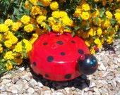 Ford Hubcap Art Ladybug - Garden Art - Red and Black - Hub Bugz