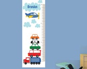 20% OFF SALE Boys Growth Chart, Fabric Wall Decal, Cars Growth Chart Decal