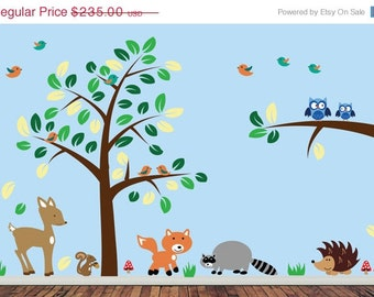 20% OFF SALE Childrens Forest Wall Decal - REUSABLE Wall Decal - J220Swa