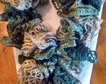 Beautiful Crocheted Fall Ruffled Scarf, Shades of Green and Ivory