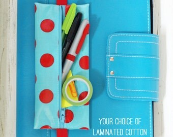 Banded planner supply case for pens, pencils, sticky notes, washi tape | Bible pouch | pencil holder | choice of laminated cotton fabric