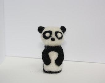 miniature panda needle felted sculpture