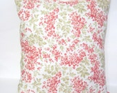 Decorative Cottage red flowers and light green leaves pillow cover/ Cottage pillow covers/ Cottage decor Pillows/