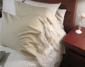 Simple Beige lace set of 2 Pillowcases/ Lace pillowcases/ Shabby chic pillowcases
