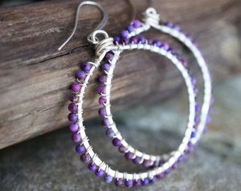 Purple Stone Silver Hoop Earrings - Wire Wrapped Fuscia Bead Earrings - Bohemian Style - Boho Earrings