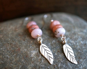 Pink Opal and Silver Leaf Earrings - Pink Opal Beads - Peruvian Opal Rondelle Faceted Beads - Bohemian Gypsy