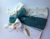 Jersey knit baby knotted headbands - set of three- gold feathers, gold triangles and aqua
