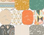 Pick Size Rag Quilt - Bound - Aztec King Queen Full Twin xl Throw - mustard - teal - gray - Modern Handmade Bedding