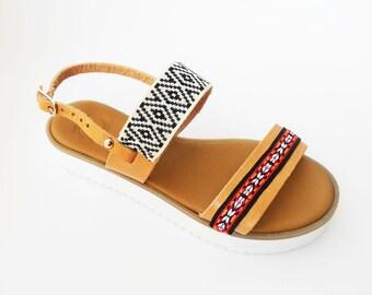 Boho Wedges , Bohemian Wedges , Black Wedges , White Wedges ,  Slingback Sandals , Strappy Sandals ,  Leather Sandals , Ethnic Sandals