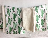 Organic Baby Gift Set, Includes Blanket & Two Burp Cloths - Lush Cozy Cactus