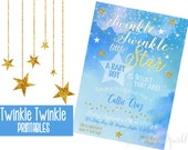 Twinkle Twinkle little Star invitation, Baby Shower invitation, Printable Water color invite, Watercolor invitation