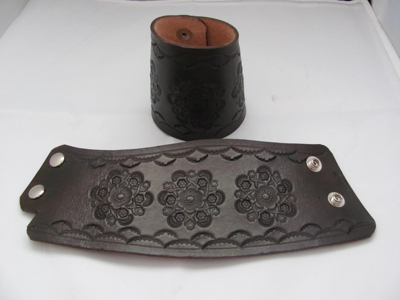Stamped Leather Wrist Cuff Leather Wrist Cuffs Cowboy Cuffs