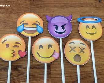 Emoji Cupcake Toppers - party wedding birthday decoration instagram social media iPhone app icon stick centerpiece