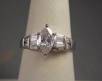 Marquise Diamond Ring 1.27Ctw White Gold 14K 4.4gm Size 6.25 Engagement Wedding