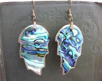 Vintage Paua Shell Earrings Long Earrings Leaf Shape