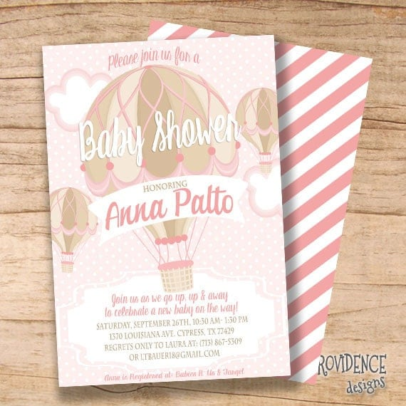 Hot Air Balloon baby shower invitation/ Balloon Invitation / Pink Hot