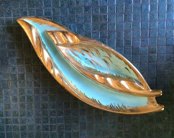 LARGE Vintage 1950s 50s Ashtray Ceramic Ash Tray MCM Mid Century Hollywood Regency Mad Men Smoking Cigarette Home Decor Blue & Metallic Gold