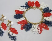 Napier Bracelet and Earrings - Bracelet and Earring Set -Red, White and Blue Plastic - Clip-on Screw-back Earrings - Demi Parure