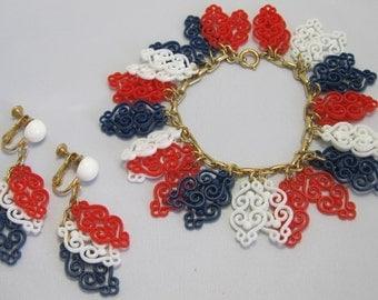 Napier Bracelet and Earrings - Bracelet and Earring Set -Red, White and Blue Plastic - Clip-on Screw-back Earrings - Demi Parure