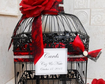 Large Birdcage Wedding Card Holder / Wedding Card Box / Black Birdcage / Victorian Wedding / Gothic Wedding