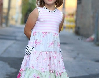 "Sale!  Girls  ""vintage rose"" tank dress .     Available girls 12 months to 10 years."