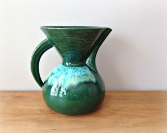 Mid Century Ceramic Pitcher Vase California 250 Pottery Green Pitcher