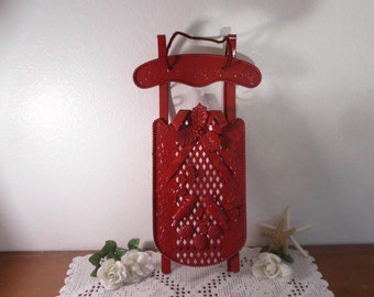 Red Sleigh Door Hanger Christmas Holiday Cardinal Holly Berries Up Cycled Vintage Metal Rustic Country Farmhouse Retro Cottage Home Decor