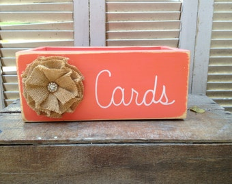 Rustic Coral and White Wedding Cards Box, Wood Wedding Cards Holder, Distressed Coral Wedding Box