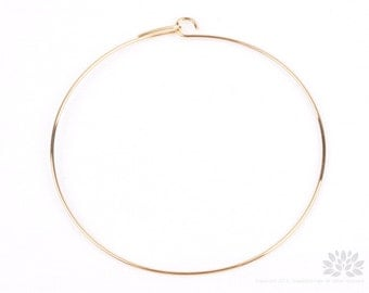 A340-G// Gold Plated Simple Thin Bangle Bracelet, 2 pcs