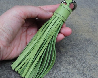 LARGE Type -Olive Green Unique and Chic Hand Stitched Cowhide Leather TASSEL Key Chain or Bag Charm-(Pick Key Ring color)