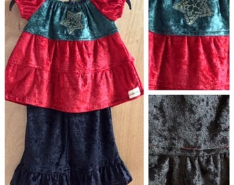 Christmas Peasant Top and Ruffle Pants, size 3t