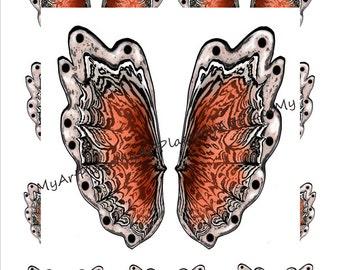 Fairy Wings, Digital Butterfly Wings,  Clip Art Butterfly, Collage Sheet Wings, Orange Butterfly, Paper Doll Wings,  Scrapbooking Wings,