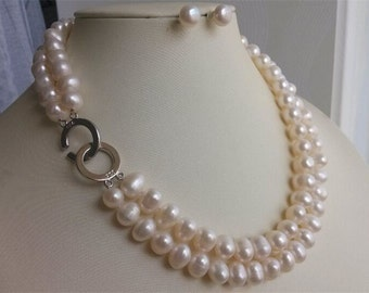 PEARL SET- white pearl necklace, double strand pearl necklace, pearl necklace  earrings set, 9-10mm white pearl