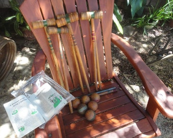 Croquet set all wood 6 player 1940s with manual
