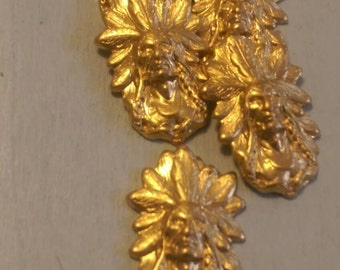 2pcs Indian Head Raw Brass Stampings Tiny Size Metal Commercial Findings Collage Jewlery Making Supplies