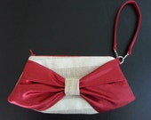 Mini Bow Clutch Wristlet - Tan and Ivory Striped Linen with Red Silk Bow, Black & Tan Heart Lining, removable Wristlet Strap, Red Zipper