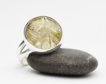 Rutilated Quartz Ring, Sterling Silver Ring, Clear with Gold Rutiles, Statement Ring, Size 7