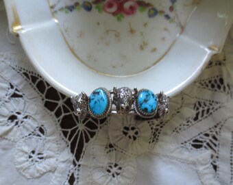 SIGNED  Sterling BISON Heads & TURQUOISE Sterling Cuff Bracelet