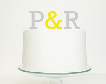 Wedding Cake Topper Monogram Name Initials and Ampersand Personalised Cake Topper