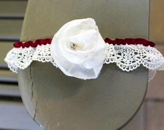 Bridal Lace Garter -Lace Wedding Garter, Christmas Wedding Garter, Ivory Garter, Off White, Lace Garter Wedding, Red Garter Belt, Flower