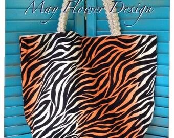 Zebra Tote bag / Handmade Handbag