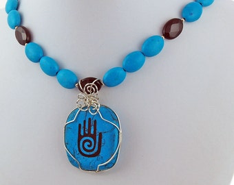 Howlite Hopi Hand Turquoise Onyx Sterling Silver Wire Pendant Necklace